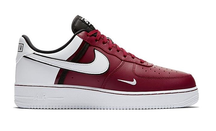 Nike Air Force 1 schoenen bordeaux rood wit